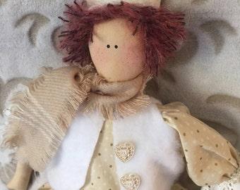 folk art rag doll, handmade art doll, raggedy doll, folk art doll, home decor, handmade raggedy doll, Primitive decor, folk art decor, art