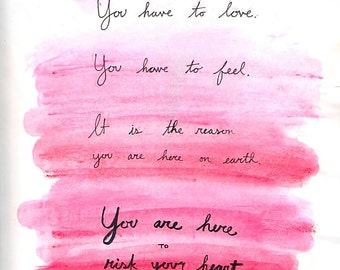 Louise Erdrich quote PRINT watercolor and pen