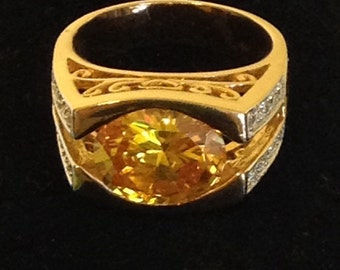 Large yellow glass stone ring