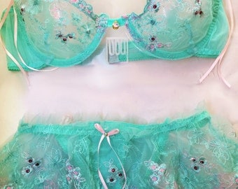 Mint Green and Pink Sheer Bra and Skirted Pantie Swarovski Crystal Set 34C