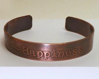 Etched Copper Bracelet, Antiqued Copper Bracelet, Happiness Copper Bracelet, Copper Cuff Bracelet