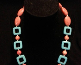 Turquoise and Orange necklace and earring set