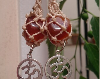 Earrings Carnelian and Om symbol. Earrings with semiprecious of carnelian and mantra.