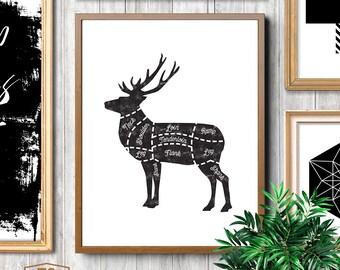 Butcher, meat cuts, deer cuts, butcher cuts, deer, butcher print, deer print, butcher diagram, deer cut, scandi kitchen