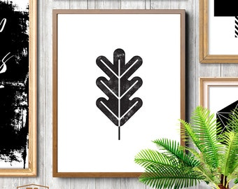 Black and white affiche scandinave print, nordic design, minimalist art, leaf, leaf print, leaf art, leaf printable art