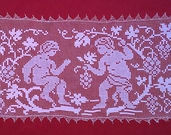 Antique italian Filet Crochet