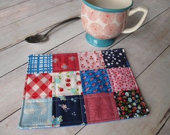 summer mug rug fabric coasters patchwork mini quilt