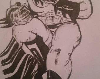 Batman, dc universe blank card,  available for personalisation,  hand drawn.