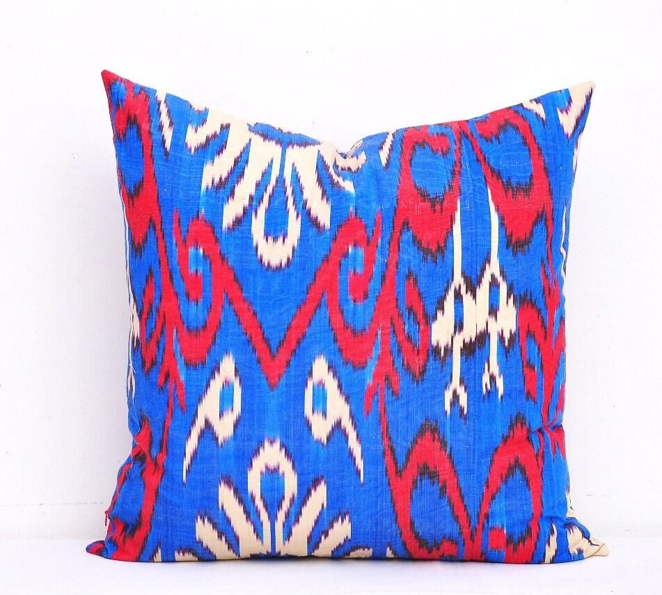 Ikat Throw Pillow Covers : Blue throw Ikat pillow-Ikat pillow cover by DecorIkatPillows