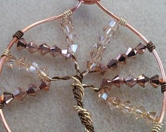 Tree of Life Pendant with Crystals: Two Trees Into One