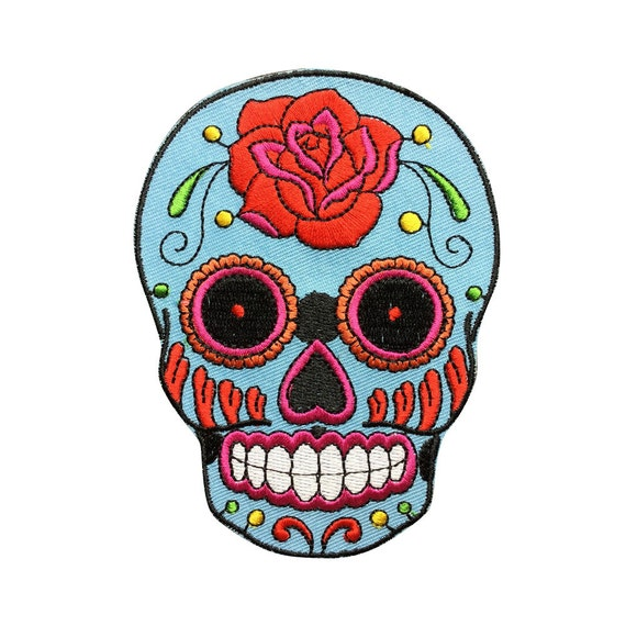 Blue Sugar Skull Patch Embroidered Punk Iron On Sew On Patches
