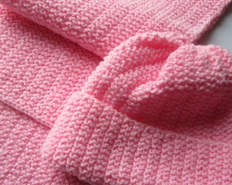 Hat and Scarf Set , Pink, knitted