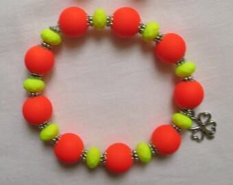 Orange and Yellow Beaded Bracelet