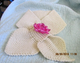 Hand Knitted Creme Bow Tie Scarf with Detachable Flower Pin