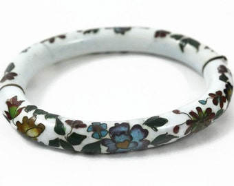 Vintage  Hinged Cloisonne Bracelet - Hand painted Jewelry - 1950's