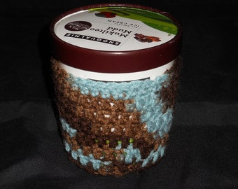 Ice Cream Cozy- Blue/Brown Variegated