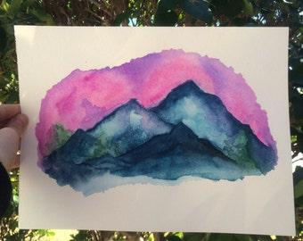 9x12 Mountains w/ soft skies