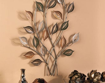 Metal Tree Wall Sculpture Leaf Wall Art Home Decor Gold & Silver Leaves