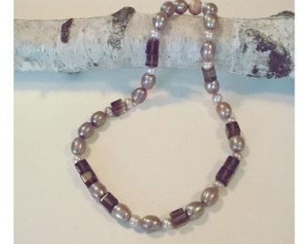 Smoky quartz Pearl necklace, handmade, beads, necklace, silver