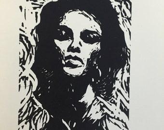Unattractive - Linocut print