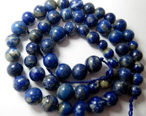 1 Strand High Quality Lapiz Lazuli Round Shaped  Size===8x8mm to 10x10mm And 19 Inch Long