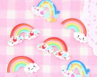 15% OFF SALE - 6 x Colourful Kawaii Rainbow Cabochon Embellishments DIY Decoden Kawaii Craft