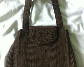 Genuine Brown Corde 1940's Handbag