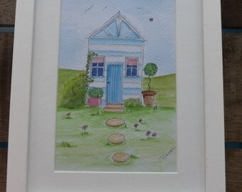 Framed Watercolour 'Little Blue Shed'