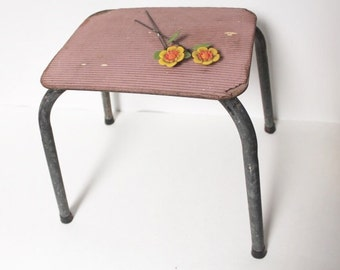 Vintage pink metal and wood small step stool in Industrial shabby chic decor kids room nursery