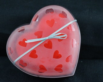 3 wick heart shaped glass container soy candle scented with love spell