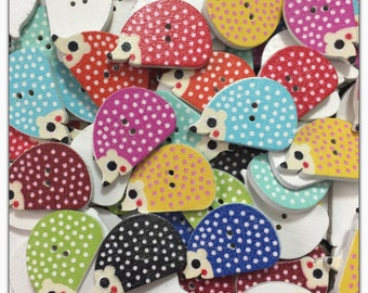 "15 or 30 Hedgehog buttons, random mix 25mm 1 inch 25 mm 1"" wood buttons, novelty buttons scrapbooking sewing, crafts, wood hedge hog button"