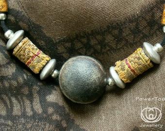 necklace, Ojo de Buey, brown, seed, natural,vintage brocade beads, symbolic properties, boho, unique gift, woman