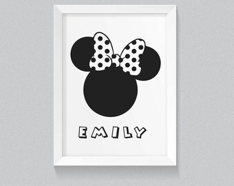 "MINNIE MOUSE Silhouette Minimalist Wall Decor Art 8x10"" Digital Print, Personalised with your childs name! Minnie Mouse Wall Art Print girl"