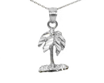 14k White Gold Palm Tree Necklace