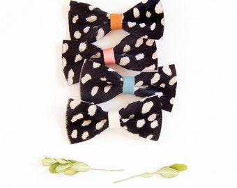 Fur Leather Hair Bow Crocodile Clip or Nylon Head band Black & White Spotted Real Hair Bow Baby Bow Adult Bow, Little Girl Bow, Leather Bow