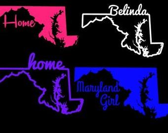 Maryland Home State Custom Decal Window Sticker