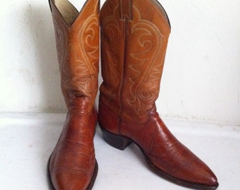 Bright orange color men's cowboy boots, made from real lizard leather, embroidered, vintage style, western, old boots, men's size 9 1/2 D.