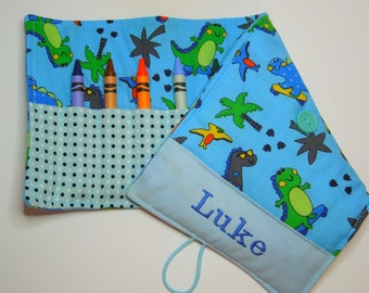 Personalized Crayon Roll - Skateboard Fun, crayons INCLUDED, Crayon roll-up, pencil case, 12+ crayons