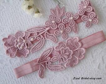 Wedding Garter, Garter Set, Lace Garter Set, Nude Pink Garter, Bridal Garter, Pink Lace Garter, Lace Garter, Pink Garter, Pink Garter Set
