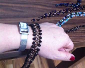 Black bronze crystal necklace