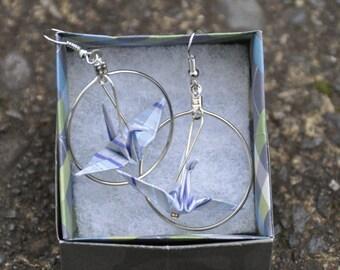 Origami Crane Earring in Circle Loop