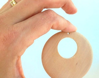 2. natural wood of 51 mm jammers, edges unfinished - 2 Wooden drums 51 mm, unfinished edges, natural