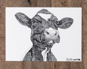 Agathe postcard with cow