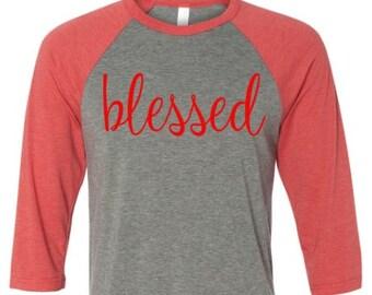 Blessed red baseball raglan shirt, Blessed shirt, raglan shirt, Blessed red baseball shirt, blessed baseball raglan. Raglan shirt