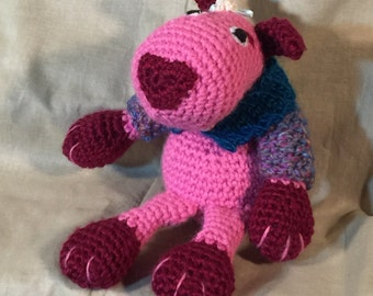 Pink and maroon doggie with sweater