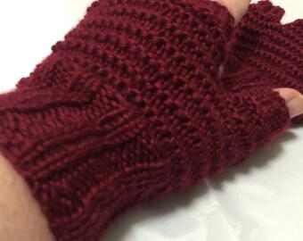 Cranberry fingerless gloves #1072