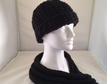 Cowl neck scarf and hat set black #1001