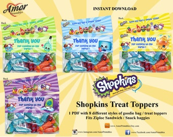 Shopkins Treat Toppers plus matching Mini Hershey Wrappers; Party Printables, Hershey, Candy Wrapper