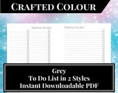 Grey Printable To Do List Insert for Large Kikki K and A5 Filofax Planners - Instant Downloadable Planner Insert