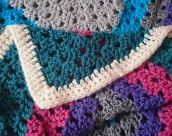 Thick soft chunky throw,granny square multicoloured.hand crocheted.